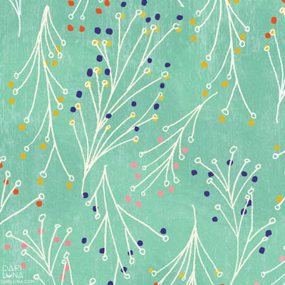 Aqua Mint Leaf Hand-Drawn Pattern Surface Textile