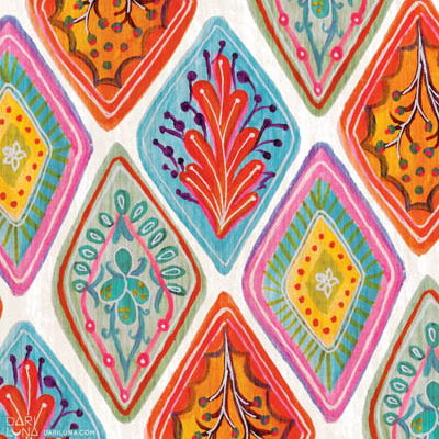 Boho Chica Bohemian Tiles Bright Spanish Illustration