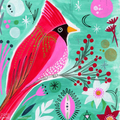 Cardinal Christmas Handpainted Goauche Holiday Illustration