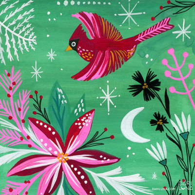 Cardinal Red Green Christmas Poinsettia Illustration Moon
