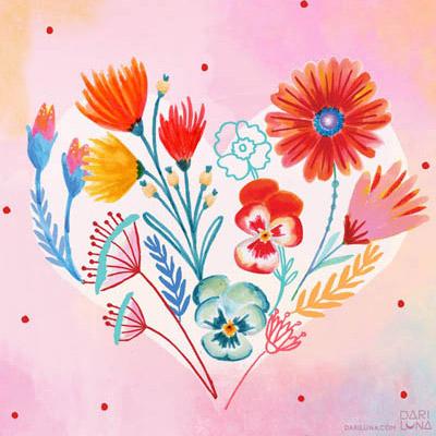 Corazon Flowers Heart Valentines Amor Te Amo