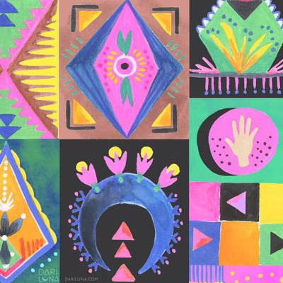 Desert Symbols Cactus Pattern Hand Moon