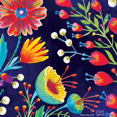 Floral Pattern Gouache Surface Dari Watercolor