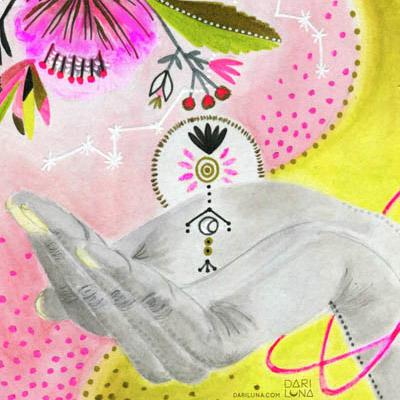 Flower Spirit Hand Symbolism Ying Yang Universe