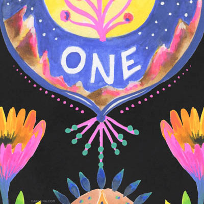 Flowers Oneness Symbols Wallhanging Illustration Angeles
