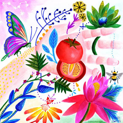 Illustration Hand Tomato Butterfly Bee Nature