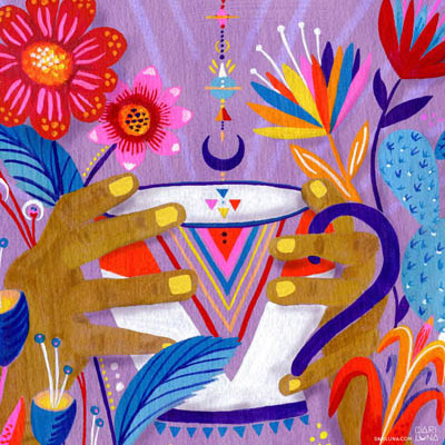 Tea Lavender Illustration Hands Bright Flowers