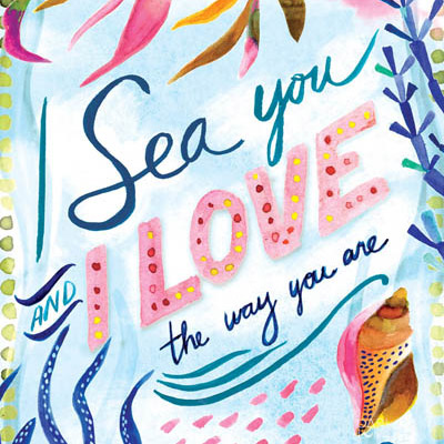 Valentines Coastal Mar Seaweed Caracol Beach Love